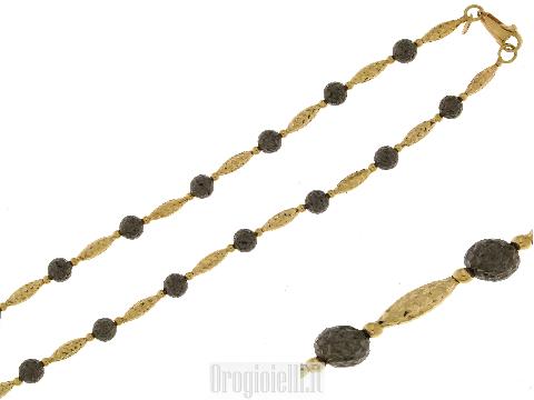 Collana in oro nero ed oro giallo 18kt