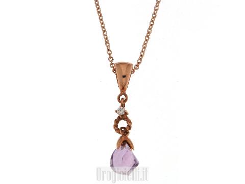 Collana oro rosa, diamante ed ametista per SPOSA