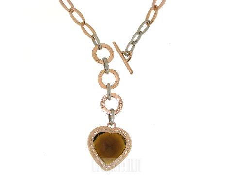 Collane bigiotteria shop online: Collana maglie ovali con cuore centrale