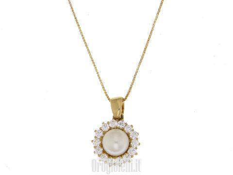 Collier  perla e zirconi in oro giallo