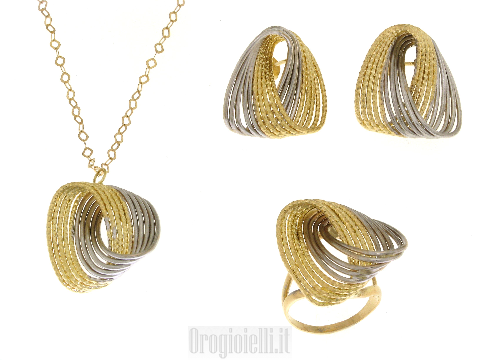 Completo oro giallo ed oro bianco 18 kt