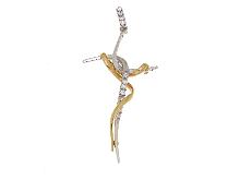 Croce bicolore in oro 18kt