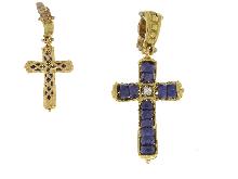 Croce con ametista in oro giallo