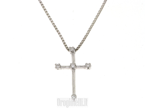 Gioielli Lusso Oro - Croce con diamanti in oro bianco 18kt