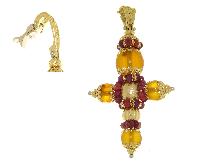 Croce con pietra ambra e rubini in oro