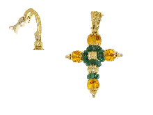 Gold Jewells: Cross with emeralds and amber stone