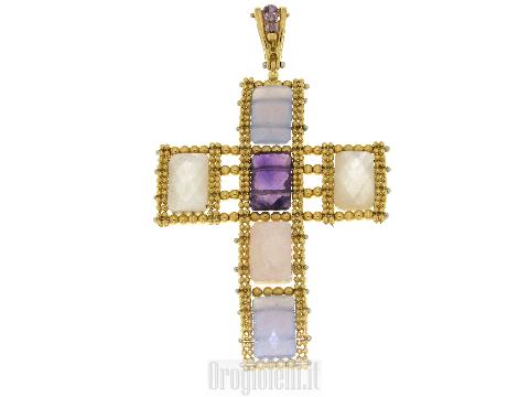 Croce con pietre colorate in oro giallo