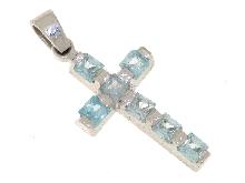 Croce con topazio azzurro