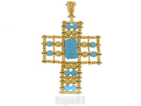 Croce con turchese in oro 18 karati