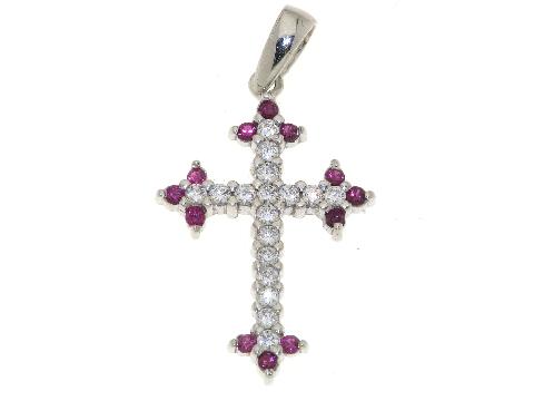 Gioielli design italiano unico e moderno Croce con zirconi e rubini