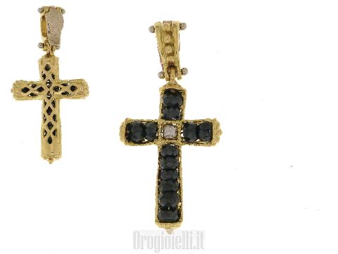 Croce con zirconi neri in oro giallo