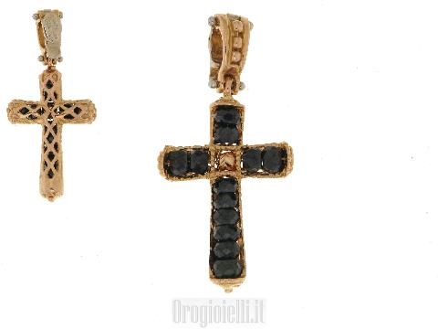 Ciondolo Croce con zirconi neri in oro rosso