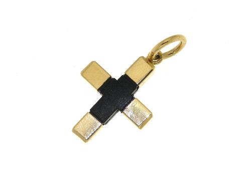 Croce in caucciu' ed oro giallo 18 ct