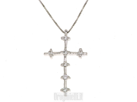 Cross in 18 ct white gold and diamonds