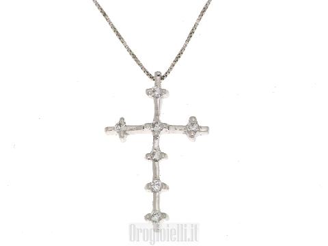 Collana con Croce in oro bianco 18ct e brillanti