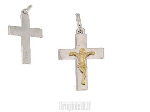 Croce in oro bianco per catene