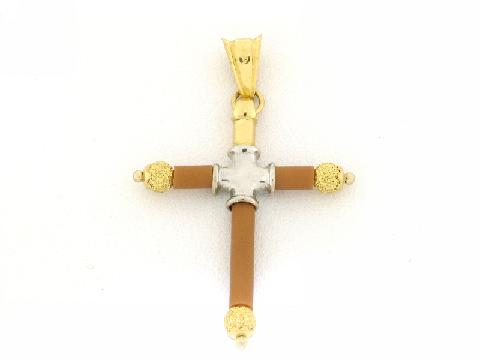 Croce in oro e caucciù