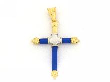 Croce in oro e caucciù blu