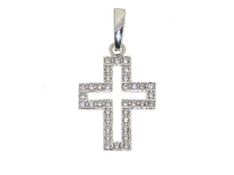 Croce oro bianco con pietre