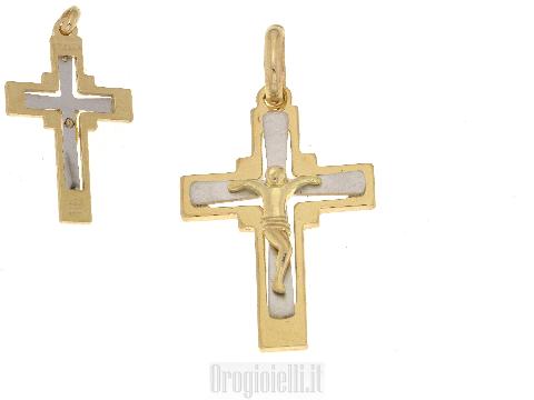 Croce per catene da battesimo in oro