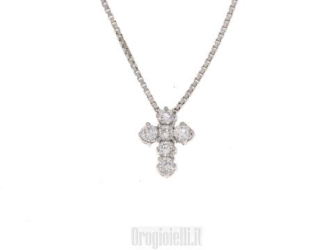 Girocolli con Crocetta con diamanti in oro 18 kt