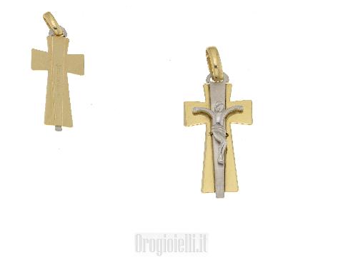 Gioielli simboli in oro: Crocifisso bicolore con cristo in 18kt
