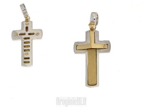 Crocifisso per catena bicolore particolare in oro