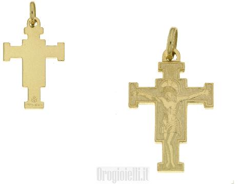 Crocifisso classico per catena in oro