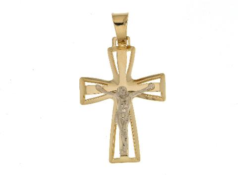 Crocifisso con cristo in oro bicolore