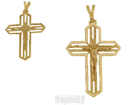 Crocifisso misura grande in oro 18 kt