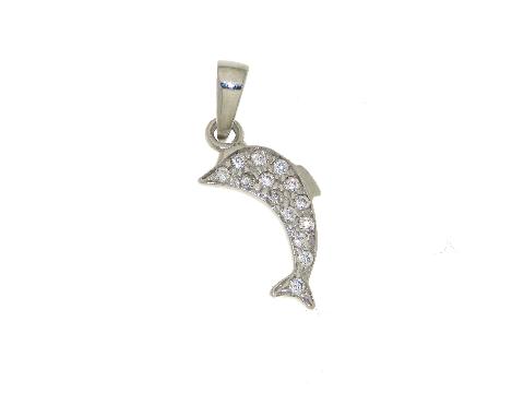 Delfino in oro e zirconi
