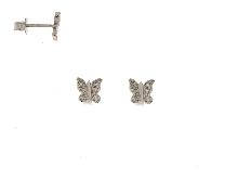 Farfalle con zirconi in oro 18 kt