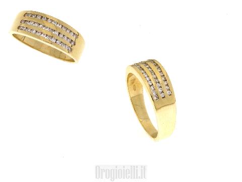 Fascia binario in oro giallo e diamanti