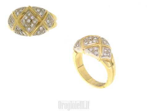 Fascia classica in oro giallo e diamanti
