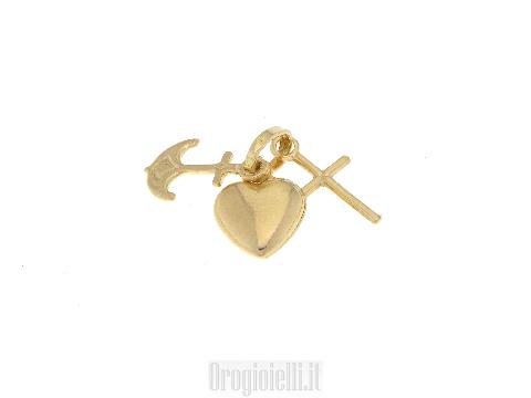 CIONDOLO Fede speranza carità in oro 18 KT carati GOLD ART