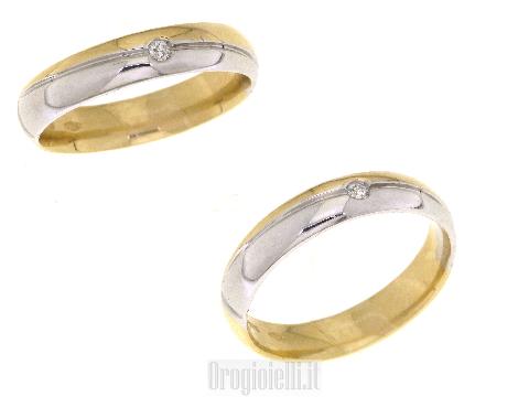 Fedi per matrimonio con diamanti in oro