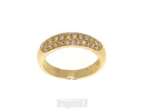 Fedina sottile con diamanti in oro 18kt