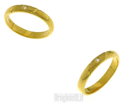 Fedine in argento 925 dorato con zircone