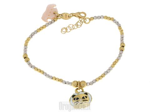 Gatto con diamantino in oro giallo