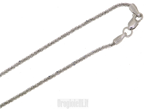 Girocollino in oro bianco diamantato