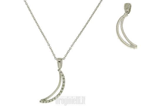Girocollo Luna e zirconi in oro bianco