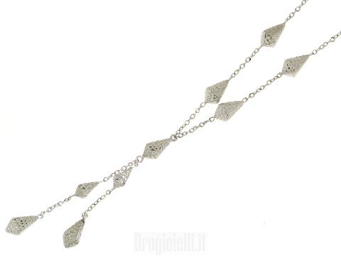 Girocollo con pendente in oro bianco