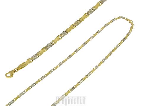 Girocollo da uomo in oro bicolore oro 18 kt