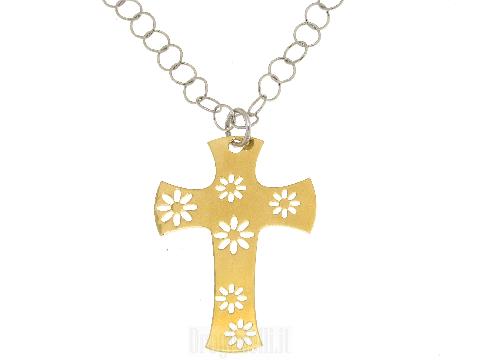 Girocollo in argento con croce dorata