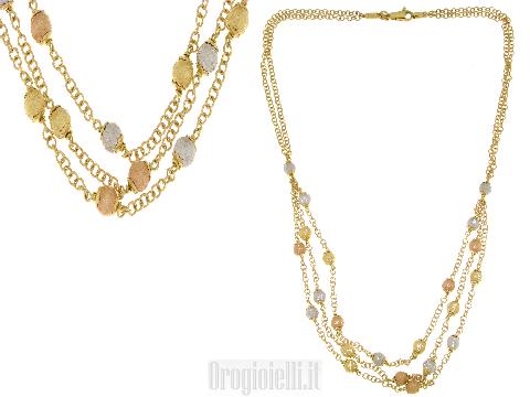 Girocollo donna in oro 3 colori più fili mix di oro rosso oro bianco e oro giallo