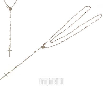 Girocollo rosario a preghiera in oro bianco