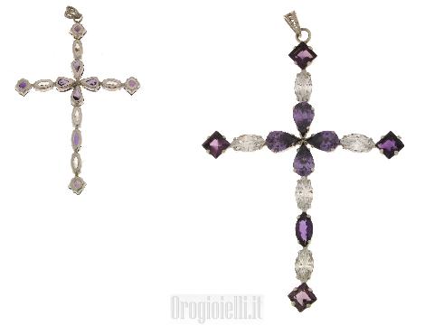 Grande croce con pietre colorate argento