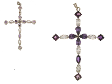 Gold Jewells: Large cross with color stones silver
