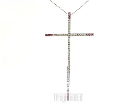 Grande croce con zirconi in oro bianco