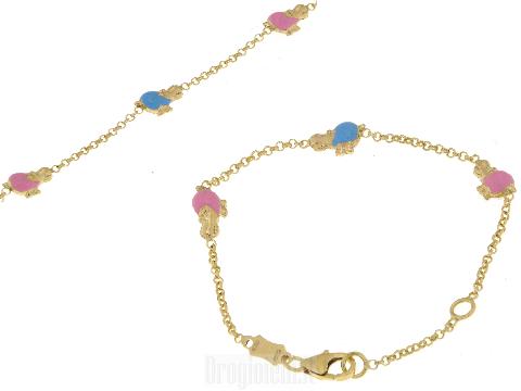 Braccialetto oro neonato Ippopotamo rosa e celeste ALICEALEX